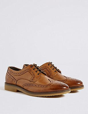 Kids' Leather Brogue Shoes, BROWN, catlanding