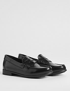 Kids' Leather Penny Loafers, BLACK, catlanding