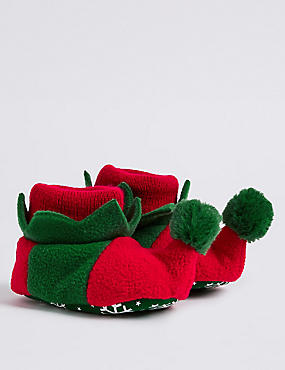 Baby Slip-on Elf Pram Shoes, RED MIX, catlanding