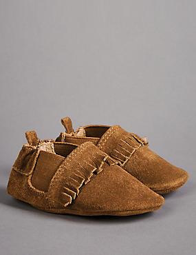 Kids' Leather Fringed Pram Shoes, TAN, catlanding