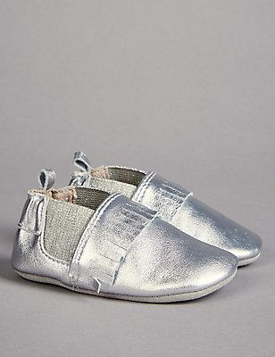 Baby Leather Fringed Pram Shoes, SILVER, catlanding