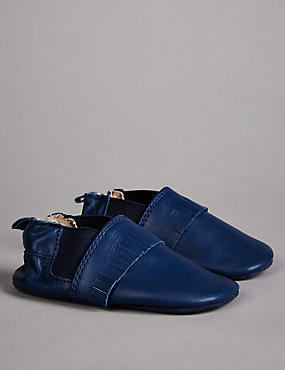 Kids' Leather Slip-on Pram Shoes, NAVY, catlanding