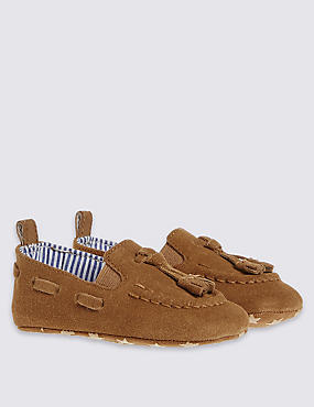 Kids' Suede Slip-on Shoes, TAN, catlanding