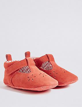 Kids' Slip-on Cut Pram Shoes, RUST, catlanding