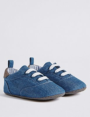 Baby Denim Slip-on Pram Trainers, DENIM, catlanding