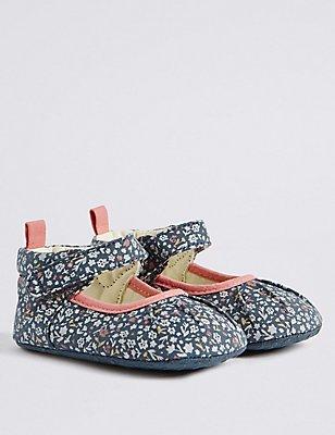 Kids' Ditsy Print Riptape Pram Shoes, MULTI, catlanding