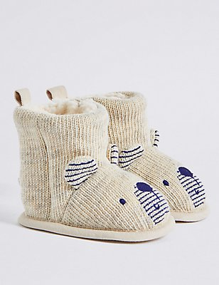 Baby Knitted Novelty Booties, OATMEAL, catlanding