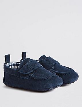 Kids' Leather Water Repellent Pram Shoes, NAVY, catlanding