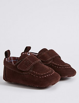 Kids' Leather Pram Shoes, CHOCOLATE, catlanding