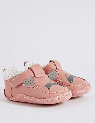 Baby Leather Riptape Pram Shoes, SUNBLUSH, catlanding