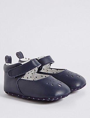 Kids' Leather Cross Bar Riptape Pram Shoes, DARK INDIGO, catlanding
