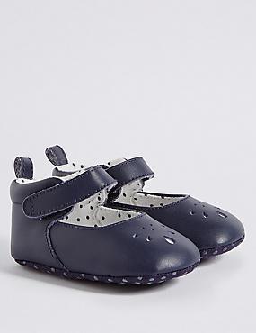 Chaussures bébé en cuir à bride transversale auto-agrippante, INDIGO FONCÉ, catlanding