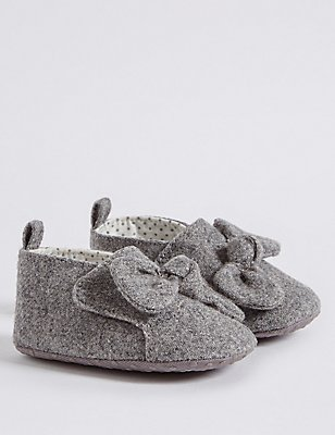 Baby Knot Pram Shoes, GREY, catlanding