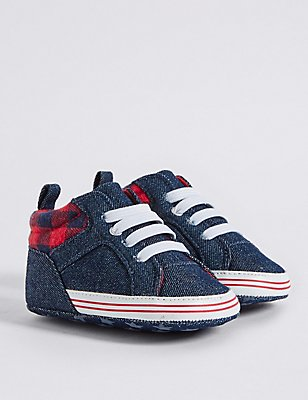 Baby Denim Pram Shoes, DENIM, catlanding