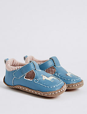 Baby Leather Riptape Pram Shoes, BLUE MIX, catlanding