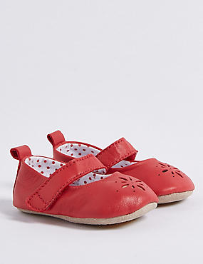 Baby Leather Riptape Pram Shoes, RED, catlanding