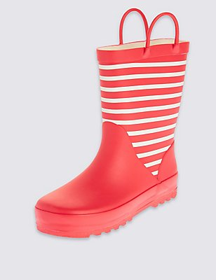 Kids' Reflective Striped Welly Boots, RED, catlanding