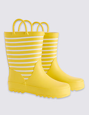 Kids' Striped Welly Boots, YELLOW, catlanding