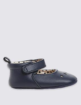 Kids' Leather Ballerina Shoes, NAVY, catlanding