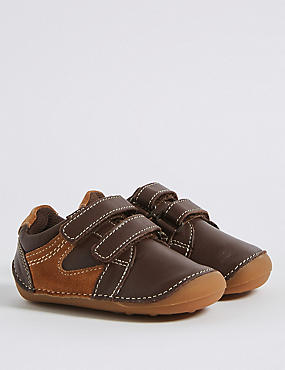 Kids' Leather Fashion Trainers, BROWN, catlanding