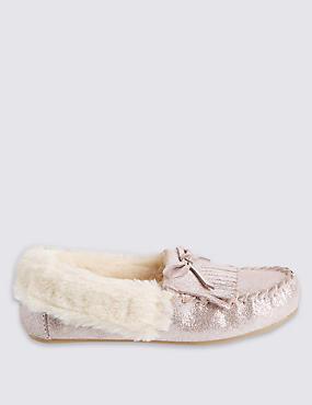 Kids' Moccasin Slippers, PINK, catlanding