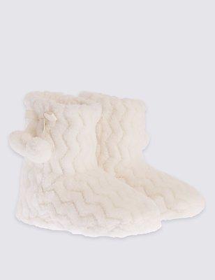 Kids' Fur Slipper Boots, CREAM, catlanding