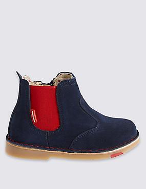 Kids' Leather Walkmates Chelsea Boots, NAVY, catlanding