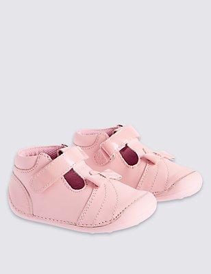 Kids' Leather Pre Walker Cross Bar Shoes, PINK, catlanding