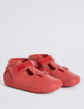 Kids' Leather Pre Walker Shoes, RED, catlanding