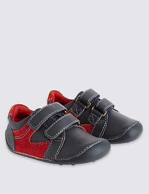 Kids' Leather Riptape Pre Walker Shoes, NAVY, catlanding