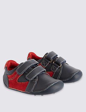 Kids Leather Pre Walker Shoes, NAVY, catlanding