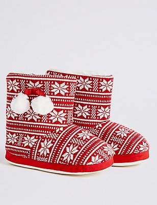 Kids' Fairisle Pull On Slippers, RED, catlanding