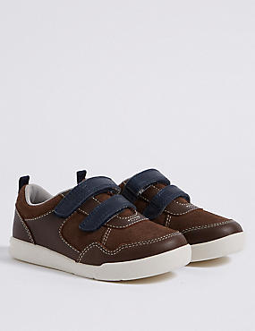 Kids' Leather Walkmates™ Fashion Trainers , BROWN MIX, catlanding