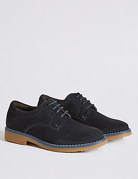 Kids' Leather Derby Lace-up Shoes, NAVY, catlanding