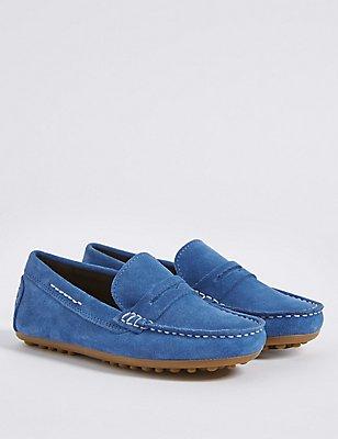 Kids' Suede Water Repellent Slip-on Shoes, COBALT, catlanding