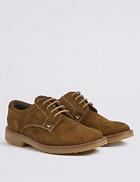Kids' Leather Derby Lace-up Shoes, TAN, catlanding