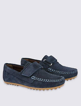 Kids' Water Repellent Suede Riptape Shoes, NAVY, catlanding