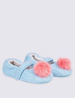 Kids' Pom Ballerina Slippers, BLUE, catlanding