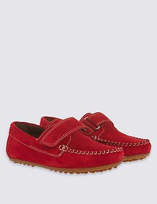 Kids' Suede Riptape Shoes, RED, catlanding