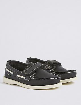 Kids' Leather Riptape Boat Shoes, NAVY, catlanding