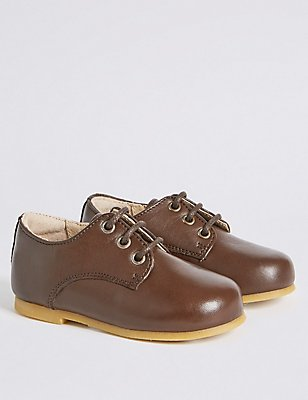 Kids' Leather Lace-up Shoes, BROWN, catlanding