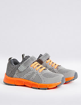 Kids' Riptape Knitted Sports Trainers, GREY MIX, catlanding