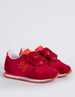 Kids' Riptape Fashion Trainers, RED, catlanding
