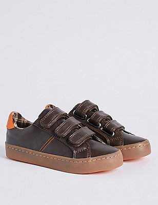 Kids' Riptape Fashion Trainers, BROWN, catlanding