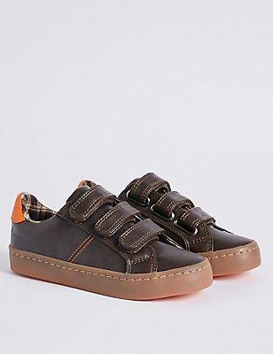 Modieuze sneakers met klittenbandsluiting voor kinderen, BRUIN, catlanding