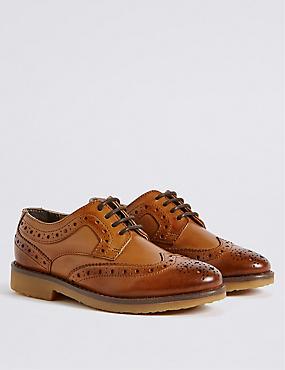 Kids' Leather Brogue Shoes, BROWN, catlanding