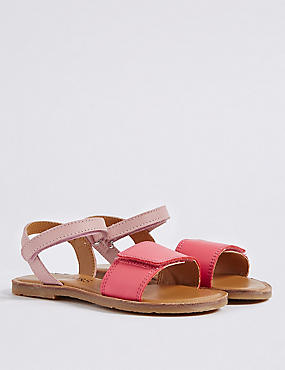 Kids' Leather Sandals, PINK, catlanding