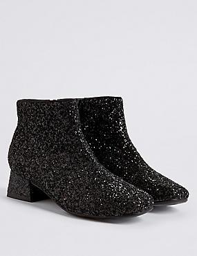 Kids' Glitter Ankle Boots, BLACK, catlanding