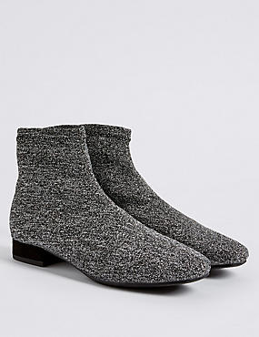 Kids' Silver Sparkle Ankle Boot, SILVER MIX, catlanding
