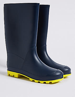 Kids' Welly Boots, NAVY, catlanding